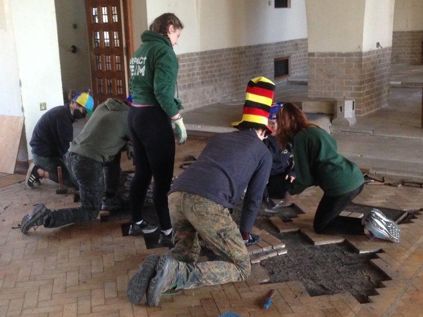 church flooring being taken up